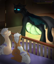 Size: 1081x1280 | Tagged: safe, artist:m-p-l, oc, oc only, changeling, nymph, bed, belly, cute, diaper, discussion in the comments, family, fetus, foal, glow, glowing belly, pregnant, solo, story included, transparent flesh