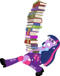 Size: 1801x2272 | Tagged: safe, artist:sketchmcreations, twilight sparkle, equestria girls, book, boots, carrying, clothes, inkscape, simple background, skirt, solo, struggling, transparent background