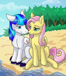Size: 1194x1354 | Tagged: safe, artist:kristkc, fluttershy, oc, oc:rainy, pegasus, pony, blue eyes, blushing, canon x oc, looking at each other, shipping, wings