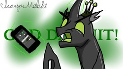 Size: 1024x576   Tagged: safe, artist:icarys, artist:riptyde, oc, oc only, oc:icarys, changeling, insect, angry, crown, drawn on phone, glare, green changeling, magic, male, open mouth, rage, solo, telekinesis