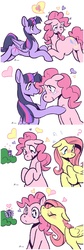Size: 1220x3650 | Tagged: safe, artist:rwl, fluttershy, pinkie pie, twilight sparkle, alicorn, pony, blushing, bush, comic, female, flutterpie, happy, heart, kiss on the cheek, kissing, lesbian, mare, ot3, polyamory, question mark, sad, shipper on deck, shipping, sweat, twilight sparkle (alicorn), twinkie, twishy, twishypie, wingding eyes