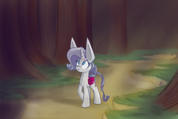 Size: 1002x668 | Tagged: safe, artist:heir-of-rick, rarity, crystal pony, golem, pony, miss pie's monsters, clarity, forest, newbie artist training grounds, saddle bag, solo, species swap