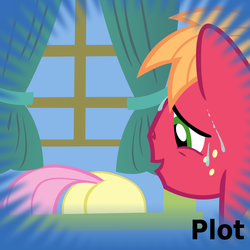 Size: 1024x1024 | Tagged: artist:dtkraus, big macintosh, derpibooru, earth pony, filli vanilli, flutterbutt, fluttershy, male, meta, official spoiler image, plot, pony, safe, smiling, spoilered image joke, stallion, sweat, the ass was fat, window