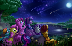 Size: 2550x1650 | Tagged: safe, artist:grennadder, applejack, fluttershy, pinkie pie, rainbow dash, rarity, twilight sparkle, alicorn, firefly (insect), pony, female, lake, mane six, mare, mare in the moon, moon, night, scenery, shooting star, stars, twilight sparkle (alicorn)