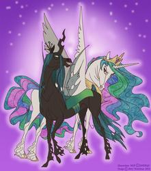 Size: 645x730 | Tagged: safe, artist:xx-artyamy-xx, princess celestia, queen chrysalis, alicorn, changeling, changeling queen, female, frown, grin, looking back, realistic, simple background, spread wings, unshorn fetlocks