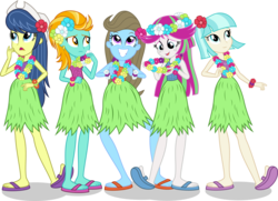 Size: 2206x1598   Tagged: safe, artist:punzil504, beauty brass, blossomforth, coco pommel, fiddlesticks, lightning dust, equestria girls, apple family member, clothes, equestria girls-ified, feet, flip-flops, grass skirt, hawaiian flower in hair, hula, hulabrass, huladust, hulaforth, hulapommel, hulasticks, recolor, sandals, simple background, skirt, transparent background, vector