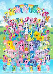 Size: 827x1142 | Tagged: safe, artist:marco albiero, applejack, applejack (g1), baby blossom, baby cotton candy, baby cuddles, baby firefly, baby glory, baby moondancer, baby surprise, baby tiddlywinks, backstroke, blossom, blue belle, bowtie (g1), brandy, bubbles (g1), butterscotch (g1), cherries jubilee, confetti (g1), cotton candy (g1), duck soup, ember (g1), firefly, flutterbye, glory, gusty, heart throb, high tide, lemon drop, lickety-split, majesty, medley, minty, minty (g1), moondancer (g1), moonstone, parasol (g1), peachy, pinwheel, posey, powder, sand dollar, sea breeze, sea mist, sea shimmer, sea star, sealight, seashell (g1), seawinkle, skydancer, skyflier, snuzzle, sparkler (g1), spike, splasher, sprinkles (g1), starflower, starshine, sunbeam, sundance, sunlight (g1), surf rider, surprise, tickle (g1), tiny bubbles, tootsie, trickles, twilight, twinkles, wave jumper, wavedancer, whitecap, windy (g1), earth pony, pegasus, sea pony, unicorn, g1, bow, female, g1 six, g1 to g4, generation leap, male, rainbow, rainbow of light, sea ponies, tail bow, tropical ponies