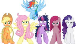 Size: 6000x3445 | Tagged: safe, artist:crunchnugget, applejack, fluttershy, pinkie pie, rainbow dash, rarity, twilight sparkle, elements of insanity, 2012, appletired, bloodshot eyes, creepypasta, eye twitch, flutterrage, gritted teeth, insanity, looking at you, mane six, messy mane, mouth hold, pinkamena diane pie, psycho six, rainbow craze, rarisnap, run, simple background, slasher smile, snapplejack, spread wings, start running, stressity, transparent background, twilight snapple, vector, wings, wrong neighborhood, xk-class end-of-the-world scenario