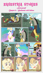 Size: 1919x3245   Tagged: safe, artist:estories, discord, princess celestia, oc, oc:alice goldenfeather, alicorn, draconequus, pegasus, pony, comic:find yourself, canterlot, comic, cross-popping veins, female, male, mare, mirror, oh come on