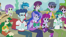 Size: 1366x768 | Tagged: safe, screencap, captain planet, curly winds, indigo wreath, microchips, mystery mint, princess luna, some blue guy, starlight, sweet leaf, teddy t. touchdown, thunderbass, velvet sky, vice principal luna, all's fair in love and friendship games, equestria girls, friendship games, background human, chloe commons, clapping, female, male, notebook, pen, writing