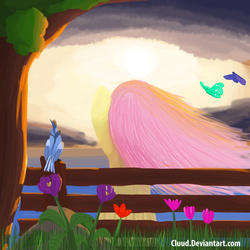 Size: 3000x3000 | Tagged: safe, artist:cluud, fluttershy, bird, butterfly, pegasus, pony, animal, bench, cloud, cloudy, darkcloud, flower, light, nature, rear view, scenery, sitting, stormcloud, sun, sunrise, sunset, tree, under the tree, windswept mane