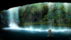 Size: 4800x2700 | Tagged: safe, artist:fidzfox, tree hugger, earth pony, pony, cave, detailed, female, scenery, scenery porn, solo, wallpaper, waterfall