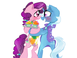 Size: 1024x768 | Tagged: apron, artist:cartoonxcatxlover, bipedal, blushing, clothes, cupcake, female, horns are touching, hug, lesbian, pony, safe, shipping, smiling, sugar belle, sugartrix, tray, trixie, trixie.sugartrix