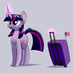 Size: 1200x1200 | Tagged: safe, artist:underpable, twilight sparkle, pony, unicorn, derpin daily, :p, american flag, cute, female, flag, magic, mare, smiling, solo, suitcase, telekinesis, tongue out, twiabetes, underpable is trying to murder us