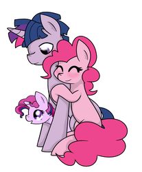 Size: 3400x4112 | Tagged: safe, artist:mississippikite, pinkie pie, twilight sparkle, oc, oc:margarita, cute, diapinkes, dusk shine, duskabetes, duskpie, half r63 shipping, offspring, parent:dusk shine, parent:pinkie pie, parent:twilight sparkle, parents:duskpie, parents:twinkie, rule 63, rule63betes