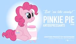 Size: 1023x595 | Tagged: safe, artist:dm29, pinkie pie, antidepressants, candy, female, medicine, pills, solo