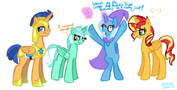 Size: 1600x818 | Tagged: alicorn, alicornified, alternate universe, artist:kyokyosanpony, everyone is an alicorn, everything is ruined, flash sentry, lyracorn, lyra heartstrings, pony, prince flash sentry, race swap, safe, shimmercorn, sunset shimmer, trixie, trixiecorn, xk-class end-of-the-world scenario