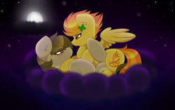Size: 1495x940 | Tagged: safe, artist:xelectrobeats, spitfire, oc, oc:chocolate chips, earth pony, pegasus, pony, blushing, canon x oc, cloud, clover, cute, female, firechips, four leaf clover, male, mare, moon, night, shipping, snuggling, stallion, stars, straight