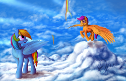 Size: 1600x1035 | Tagged: artist:xormak, big sister, cloud, cloudy, emotional, looking at each other, rainbow dash, rainbow falls, safe, scootaloo, scootaloo can fly, signature, spread wings