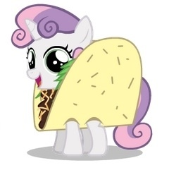 Size: 240x241 | Tagged: artist:mixermike622, clothes, costume, cropped, cute, diasweetes, pun, safe, sweetie belle, taco, taco belle, taco suit, visual pun