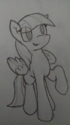 Size: 2432x4320 | Tagged: artist:candel, blossomforth, cute, lineart, monochrome, pegasus, pencil drawing, pony, safe, solo, traditional art