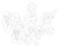 Size: 2415x1950 | Tagged: amethyst (steven universe), applejack, artist:blackbewhite2k7, commission, connie maheswaran, crossover, donut, garnet (steven universe), magic, monochrome, pearl (steven universe), pinkie pie, safe, shield, sketch, spear, spike, steven universe, sweetie belle, sword, twilight sparkle