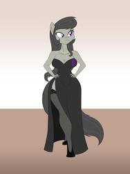 Size: 1800x2400 | Tagged: anthro, artist:mofetafrombrooklyn, breasts, cleavage, clothes, cutie mark dress, dress, female, gown, high heels, octavia melody, safe, solo