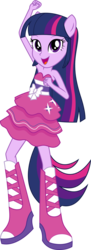 Size: 2454x6752   Tagged: safe, artist:sugar-loop, twilight sparkle, equestria girls, bare shoulders, clothes, dancing, dress, fall formal outfits, female, pony ears, simple background, sleeveless, solo, strapless, transparent background, twilight sparkle (alicorn), vector, wingless