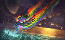 Size: 1920x1200   Tagged: safe, artist:rain-gear, rainbow dash, clothes, cloud, cloudy, crepuscular rays, flying, ocean, rainbow trail, redraw, scarf, scenery, solo, spread wings, water, wave