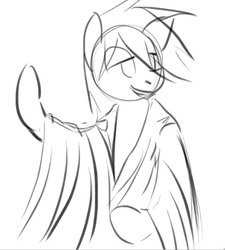 Size: 575x639 | Tagged: safe, artist:sees, oc, oc only, oc:aryanne, pony, bipedal, black and white, clothes, death, grayscale, monochrome, pointing, robe, sketch, smiling, solo, welcome to die, wip
