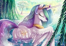 Size: 1200x849 | Tagged: safe, artist:yulyeen, princess celestia, alicorn, pony, beautiful, crown, cute, cutelestia, cutie mark, dappled sunlight, ethereal mane, ethereal tail, eyes closed, feather, female, flowing mane, flowing tail, forest, jewelry, lake, majestic, mare, multicolored mane, multicolored tail, peaceful, peytral, plot, praise the sun, regalia, royalty, scenery, smiling, solo, spread wings, sunbutt, swanlestia, sweet dreams fuel, swimming, tiara, water, waterfall, weeping willow, wet
