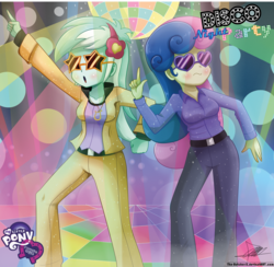 Size: 1464x1427 | Tagged: safe, artist:the-butch-x, bon bon, lyra heartstrings, sweetie drops, equestria girls, rainbow rocks, 70s, clothes, dancing, disco, disco ball, disco dance, female, jewelry, logo, necklace, party, signature, sunglasses