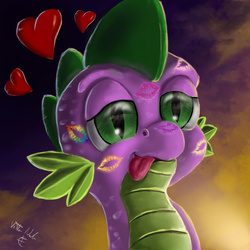 Size: 2700x2700 | Tagged: safe, artist:vittorionobile, spike, :p, cute, female, implied applespike, implied flutterspike, implied pinkiespike, implied rainbowspike, implied shipping, implied sparity, implied straight, implied twispike, kiss mark, male, shipping, solo, spike gets all the mares, spikelove, straight, tongue out