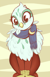 Size: 2899x4421 | Tagged: safe, artist:aisuroma, greta, griffon, catbird, clothes, cute, fluffy, gretadorable, head tilt, looking at you, puffy, scarf, sitting, smiling, solo