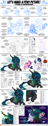 Size: 1248x3201 | Tagged: alicorn, alicorn oc, artist:sorcerushorserus, belly button, changeling, crossbreed, cute, doll, eyes closed, family, glowing horn, high res, hug, hybrid, implied shining chrysalis, levitation, magic, mommy chrissy, mother and daughter, needle, next generation, oc, oc:pharomona, offspring, paint tool sai, patreon, pincushion, plushie, pony, princess cadance, princess celestia, queen chrysalis, safe, step by step, toy, tutorial, unicorn, voodoo doll