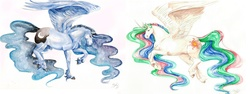Size: 6767x2548 | Tagged: safe, artist:miidniightsuun, princess celestia, princess luna, alicorn, horse, curved horn, duo, female, horn, mare, realistic, simple background, spread wings, traditional art, unshorn fetlocks, wings
