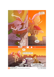 Size: 3541x5016 | Tagged: safe, artist:gashiboka, doctor whooves, fluttershy, rarity, roseluck, time turner, pony, comic:recall the time of no return, castle, comic, iron wolf, male, patreon, patreon logo, stallion