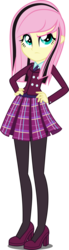 Size: 1100x3971 | Tagged: safe, artist:xebck, fluttershy, equestria girls, friendship games, alternate hairstyle, alternate universe, clothes, crystal prep academy, crystal prep academy uniform, crystal prep shadowbolts, emoshy, eyeshadow, hand on hip, high heels, makeup, pantyhose, pleated skirt, school uniform, simple background, skirt, solo, tights, transparent background, vector
