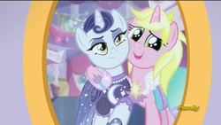 Size: 1280x720   Tagged: safe, screencap, lily love, moonlight raven, sunshine smiles, pony, unicorn, canterlot boutique, duo, female, mare, ponies standing next to each other, sisters