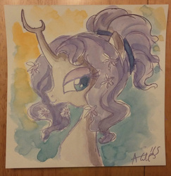 Size: 659x677 | Tagged: safe, artist:agnesgarbowska, tree of harmony, oc, oc:harmony (heilos), flower, flower in hair, ponified, traditional art, watercolor painting