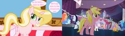 Size: 1900x550 | Tagged: safe, frazzle rock, minuette, moonlight raven, north point, pretzel twist, sunshine smiles, twinkleshine, oc, oc:bubblegum kiss, pony, unicorn, canterlot boutique, female, mare, phei