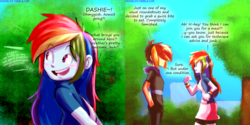 Size: 3150x1575 | Tagged: a dash of everything, artist:manic-the-lad, dashblitz, double rainbow arc, equestria girls, female, male, rainbow blitz, rainbow dash, rule 63, safe, selfcest, self ponidox, shipping, straight