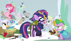 Size: 980x560 | Tagged: safe, artist:dm29, bon bon, derpy hooves, dj pon-3, doctor whooves, gilda, lemon hearts, lyra heartstrings, minuette, moondancer, octavia melody, pinkie pie, rainbow dash, smooze, spike, sweetie drops, time turner, trouble shoes, twilight sparkle, twinkleshine, vinyl scratch, alicorn, dragon, earth pony, griffon, pegasus, pony, twittermite, unicorn, amending fences, appleoosa's most wanted, bloom and gloom, canterlot boutique, castle sweet castle, do princesses dream of magic sheep, make new friends but keep discord, party pooped, princess spike (episode), slice of life (episode), tanks for the memories, the cutie map, the lost treasure of griffonstone, alternate hairstyle, background six, bowtie, box, cardboard box, claws, clothes, crossing the memes, crying, derpysaur, dress, fangs, female, fusion, glasses, hat, hooves, horn, i didn't listen, i'm pancake, jar, lyrabon (fusion), male, mare, meme, new crown, open mouth, princess dress, punklight sparkle, sitting, sled, snow, staff, staff of sameness, stallion, standing, sunglasses, sweater, the meme continues, the ride never ends, the story so far of season 5, this isn't even my final form, top hat, twilight scepter, twilight sparkle (alicorn), unamused, vector, volumetric mouth, wings