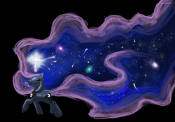 Size: 1000x700 | Tagged: safe, artist:joan-grace, princess luna, ethereal mane, eyes closed, magic, simple background, solo
