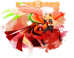 Size: 3057x2419 | Tagged: safe, artist:dormin-kanna, alicorn, ho-oh, pony, pokémon, ponified, simple background, solo, transparent background