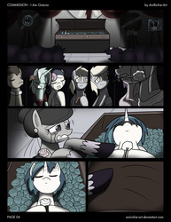 Size: 2550x3300 | Tagged: safe, artist:ladyanidraws, bon bon, derpy hooves, dj pon-3, doctor whooves, lyra heartstrings, octavia melody, sweetie drops, time turner, vinyl scratch, pony, i am octavia, coffin, comic, commission, crying, dead, feels, flower, funeral, male, on back, sad, stallion