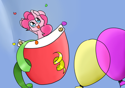 Size: 4093x2894 | Tagged: artist:cutepencilcase, balloon, confetti, :d, pinkie pie, pocket pony, safe, smiling, solo, streamers