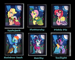 Size: 1500x1203 | Tagged: alicorn, applejack, artist:the-paper-pony, clothes, craft, dress, female, fluttershy, gala dress, mane six, mare, pinkie pie, pony, rainbow dash, rarity, safe, shadowbox, twilight sparkle, twilight sparkle (alicorn)