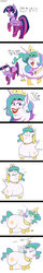 Size: 900x5600 | Tagged: safe, artist:tralalayla, princess celestia, twilight sparkle, alicorn, pony, :t, bedroom eyes, bipedal, butt shake, cake, cakelestia, chubbylestia, clothes, comic, crown, dialogue, drool, eyes closed, eyeshadow, faic, fat, female, frown, grin, impossibly large butt, jewelry, lipstick, looking at you, looking back, makeup, mare, morbidly obese, necklace, obese, open mouth, panting, plot, raised hoof, raised leg, regalia, simple background, small wings, smiling, socks, striped socks, sweat, sweatdrop, twilight sparkle (alicorn), underhoof, wat, white background, wide eyes, wiggle