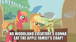 Size: 888x499 | Tagged: safe, screencap, applejack, big macintosh, granny smith, earth pony, pony, swarm of the century, flyswatter, image macro, male, meme, mondegreen, pitchfork, stallion
